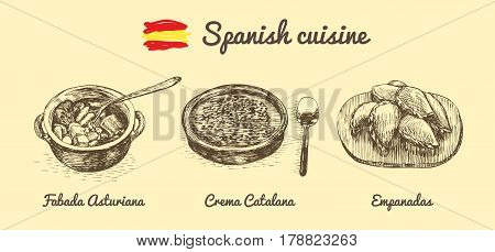 Spanish menu monochrome illustration. Vector illustration of Spanish cuisine.