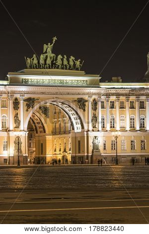 St. Petersburg, Russia - March 15, 2017: Chariot of Glory on the Triumphal Archof General Staff Palace Square
