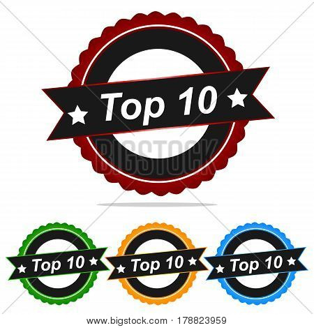 Stamp banner sign vector 10 top ten badge best grunge.