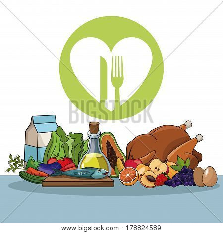 healthy food diet vitamins image vector illustration eps 10