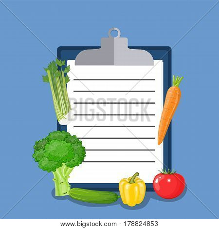Vegan diet plan checklist. Healthy food and Diet planning, diet, food. Vector illustration in flat style