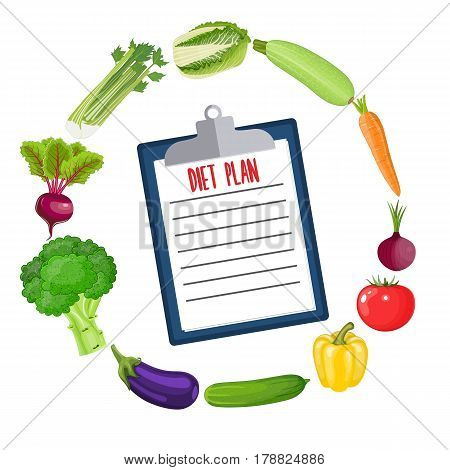 Diet plan schedule. Healthy food and Diet planning, Vector illustration in flat style