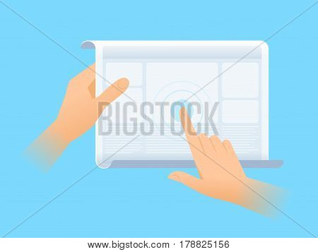 Human hand is using the screen of flexible tablet computer. Flat vector illustration of future gadget. Modern innovation technologies concept. Design element for presentation web infographics.