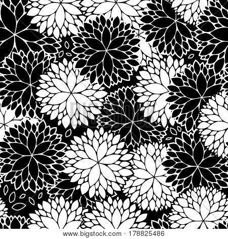 minimalist abstract dahlia flowers seamless pattern in black and white