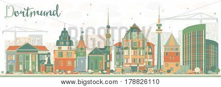 Abstract Dortmund Skyline with Color Buildings. Business Travel and Tourism Concept with Historic Architecture. Image for Presentation Banner Placard and Web Site.