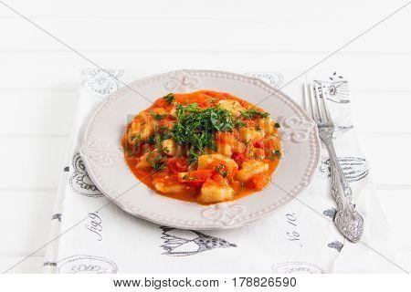 Eggless Lenten Potato Gnocci Sauce