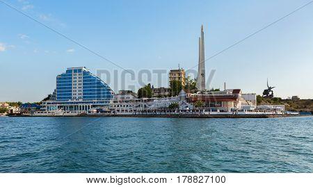 Sevastopol, Russia - June 09, 2016: Cape Khrustalny in the Artillery Bay of Sevastopol