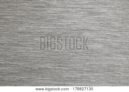 Textile Texture Close Up of Gray Sack or Burlap Fabric Pattern Background.