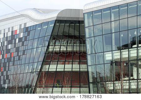 CRACOW POLAND - FEBRUARY 14 2016: ICE Krakow Congress Center Kraków Poland. Architect: Ingarden & Ewy Ararta Isozaki