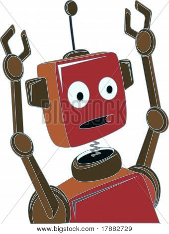 Cartoon Robot Surprised Expression Raised Claw Arms