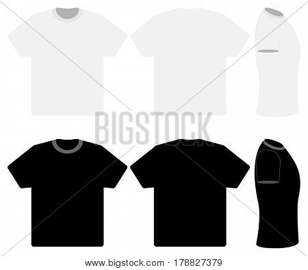 Three black and white T-Shirts isolated on white background. illustration.
