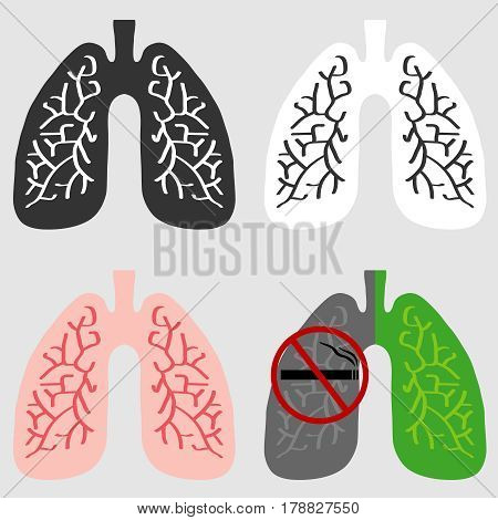 The lungs of man. Flat design vector illustration vector.