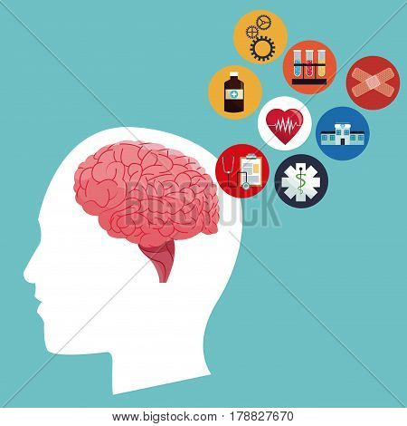 human head brain healthcare medical icons vector illustration eps 10