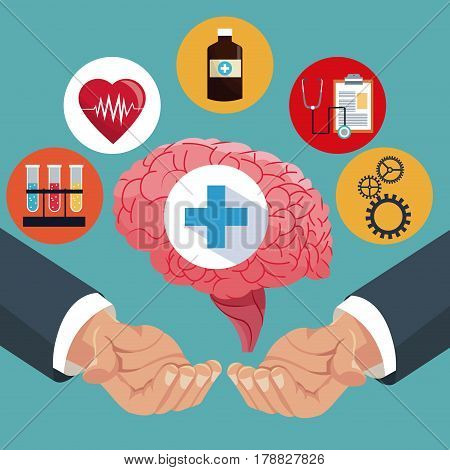 hand with human brain healthcare items vector illustration eps 10
