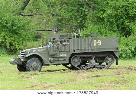 OLD BETHPAGE , NEW YORK - MAY 22, 2016: The M3A1 Scout Car from the Museum of American Armor during World War II Encampment in Bethpage, NY