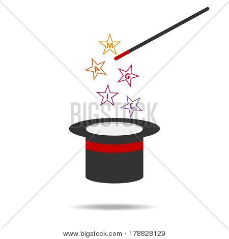 Magic wand and hat. Flat design vector illustration vector.