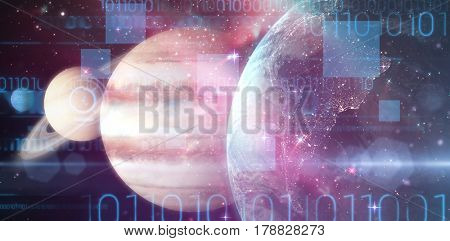 Graphic image of solar system against image of earth