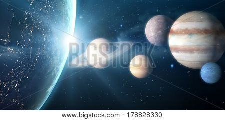 Graphic image of solar system against illuminated planet earth seen from space