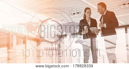 Binary coding over world map against black background against business colleagues interacting with each other 3d