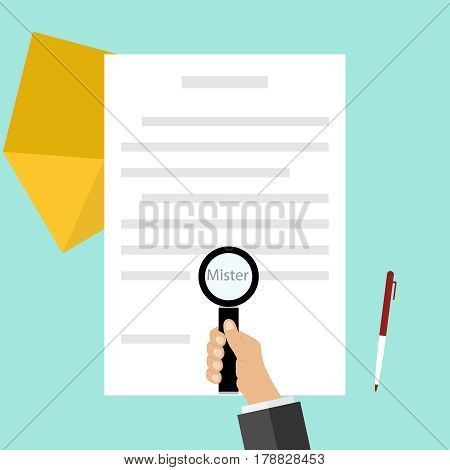 A hand with a magnifying glass looks at the document. Flat design vector illustration vector.