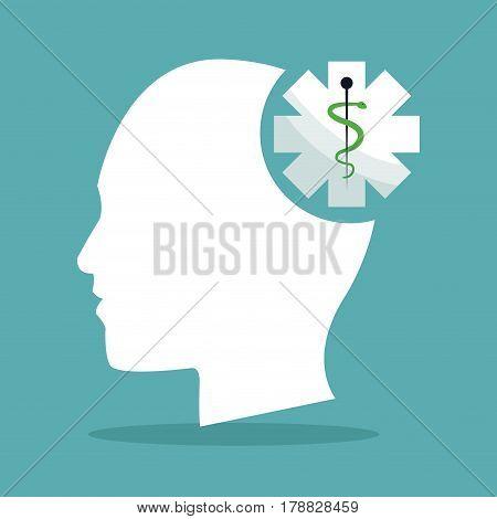 human head brain shape caduceus healthcare vector illustration eps 10