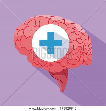 human brain healthy organ vector illustration eps 10