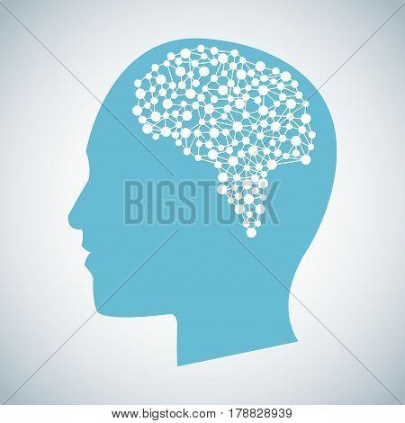 human head brain think function vector illustration eps 10
