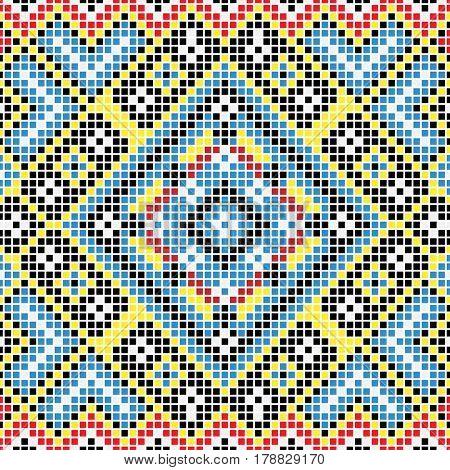 Blue National Seamless background pattern of the Ukraine. Illustration