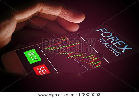 Forex concept hand woman using smartphone with virtual screen.