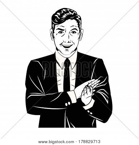 man applauds comic style black and white vector illustration eps 10