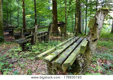 Travel To Sankt-wolfgang, Austria. The Benches In The Mountains Forest.