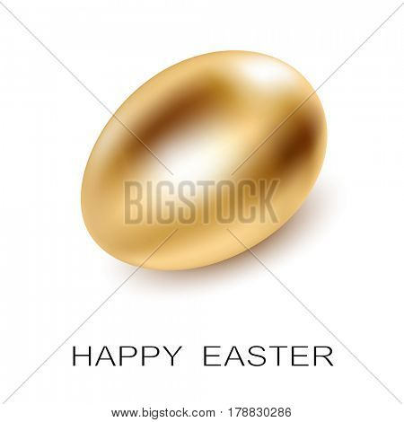 Easter Golden Egg on white background. Concept Icon Illustration
