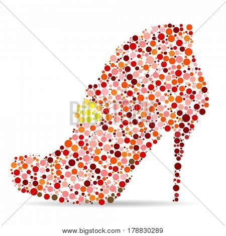 Women's Shoes in the form of a Mosaic on white background. illustration.