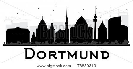 Dortmund City skyline black and white silhouette. Simple flat concept for tourism presentation, banner, placard or web site. Cityscape with landmarks.