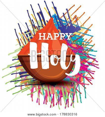 Happy Holi Celebration Poster with Color Splash.