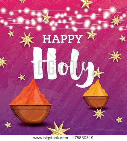 Happy Holi Celebration Poster with Neon Lights and Golden Stars.