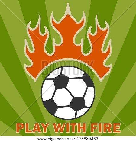 A soccer ball with fire. Flat design vector illustration vector.