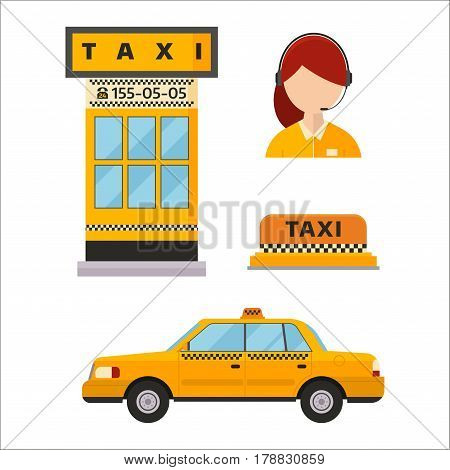 Different types of taxi transport. Taxi cars transport vector illustration. City taxi service girl manager. Passengers and delivery dispatcher