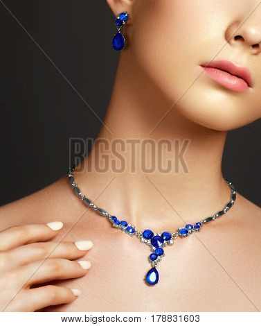 Jewellery And Accessories. Elegant Fashionable Woman With Jewelry. Beautiful Woman With Sapphire Nec