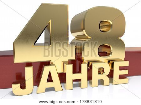 Golden digit forty eight and the word of the year. Translated from the German - years.3D illustration