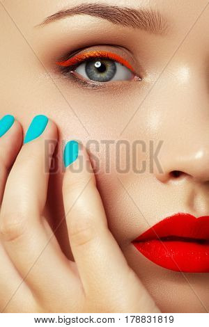 Cosmetics And Makeup. Woman's Face With Vivid Makeup