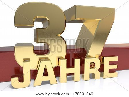 Golden digit thirty seven and the word of the year. Translated from the German - years.3D illustration