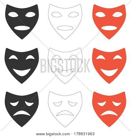 Theatrical mask. Flat design vector illustration vector.