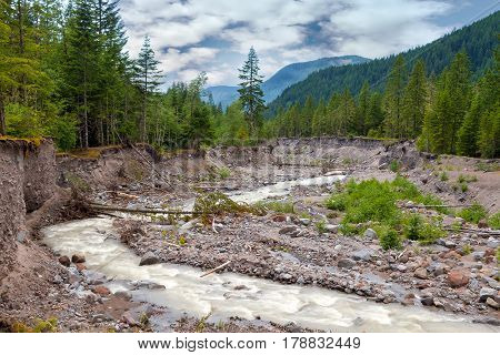 Sandy River in Mount Hood National Forest in Oregon during summer season