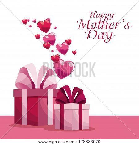 happy mothers day invitation decoration hearts vector illustration eps 10