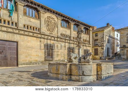 Fountain of the Lions is an archaeological monument. The fountain is adorned with the statues of lions and oxen Baeza Spain
