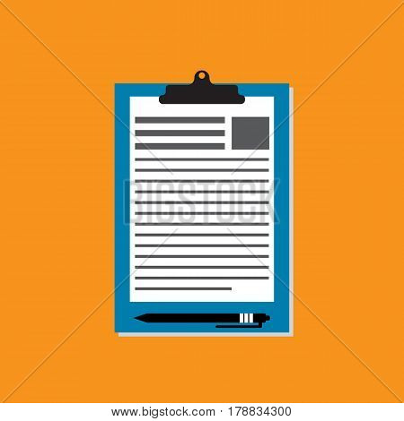 Tablet with clamp isolated on orange backgorund. Office suply.