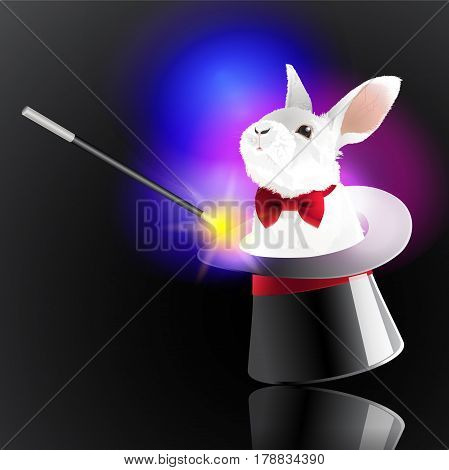 Magic hat with rabbit. The magic wand make a little bunny come out from the magic hat. Vector illustration.
