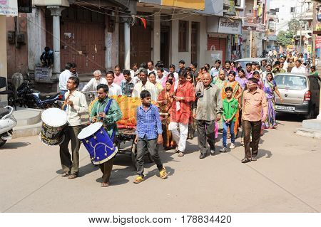 Funeral Procession On The Streets Of Maheshwar On India