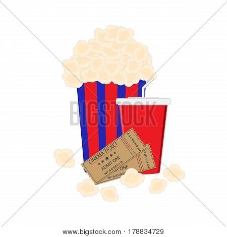 Abstract Flat Background with Old Style Ticket, Big Pop Corn and paper cup template for soda Icons. Vector Illustration EPS10